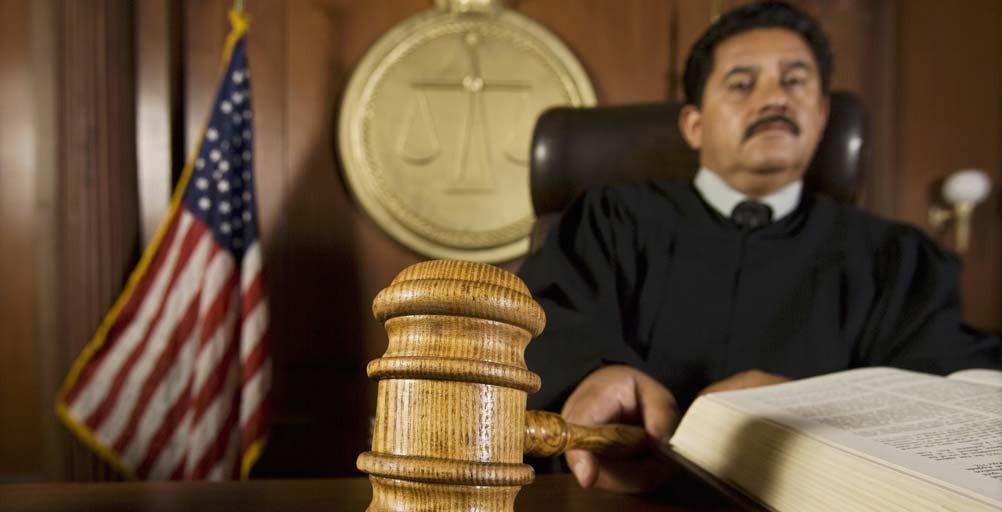 Judge setting bail for defendant